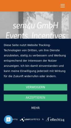 Vorschau der mobilen Webseite www.sem4u.com, sem4u GmbH