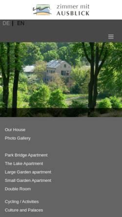 Vorschau der mobilen Webseite www.zimmer-mit-ausblick.net, Ferienwohnung in Potsdams Parklandschaft