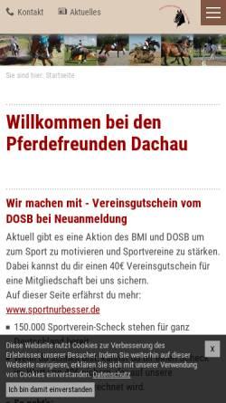 Vorschau der mobilen Webseite www.pferdefreunde-dachau.de, Verein Pferdefreunde Dachau e.V.