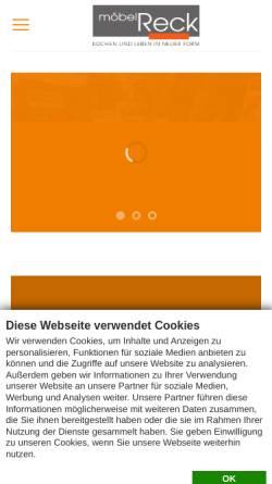 Vorschau der mobilen Webseite moebel-reck.de, Möbel Reck - Einrichtungshaus