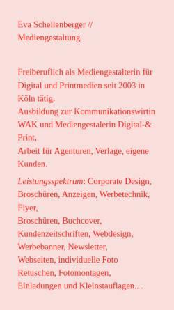 Vorschau der mobilen Webseite www.eva-schellenberger.de, Eva Schellenberger - Kommunikationsdesign