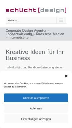 Vorschau der mobilen Webseite www.schlicht-design.de, Frau Nicole Schlicht Dpl. Grafik-Designerin