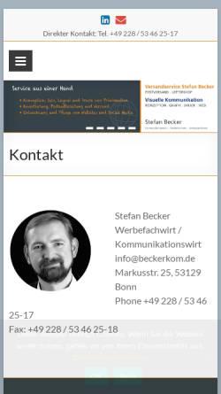 Vorschau der mobilen Webseite beckerkom.de, Stefan Becker Visuelle Kommunikation