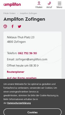 Vorschau der mobilen Webseite www.hoerakustikweber.ch, Hörakustik Weber, Inh. Beat Weber