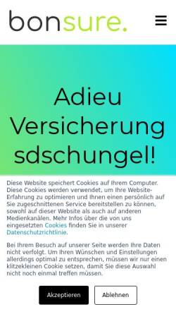 Vorschau der mobilen Webseite www.bonsure.com, BonSure GmbH Versicherungsmakler