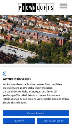 Vorschau der mobilen Webseite www.p-town-lofts.de, P-town Lofts