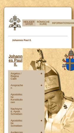Vorschau der mobilen Webseite www.vatican.va, Der Heilige Vater Johannes Paul II