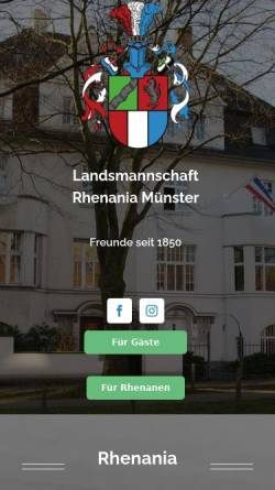 Vorschau der mobilen Webseite www.rhenania-muenster.de, Rhenania zu Münster