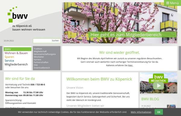 Vorschau von www.bwv-zk.de, Beamten-Wohnungs-Verein zu Köpenick eG