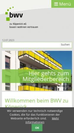 Vorschau der mobilen Webseite www.bwv-zk.de, Beamten-Wohnungs-Verein zu Köpenick eG