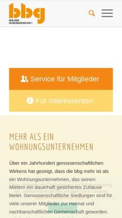 Vorschau der mobilen Webseite www.bbg-eg.de, Berliner Baugenossenschaft eG