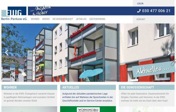 Vorschau von www.ewg-pankow.de, Erste Wohnungsgenossenschaft Pankow eG