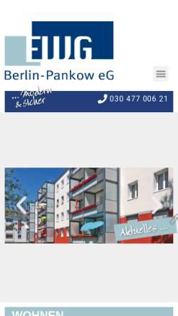 Vorschau der mobilen Webseite www.ewg-pankow.de, Erste Wohnungsgenossenschaft Pankow eG
