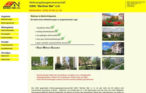 Vorschau von berliner-baer-koepenick.de, Wohnungsbaugenossenschaft GWG Berliner Bär eG