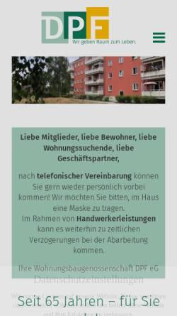 Vorschau der mobilen Webseite www.dpfonline.de, Wohnungsbaugenossenschaft DPF eG