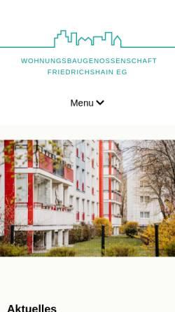 Vorschau der mobilen Webseite www.wbg-friedrichshain-eg.de, Wohnungsbaugenossenschaft Friedrichshain eG