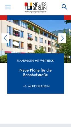 Vorschau der mobilen Webseite www.neues-berlin.de, Wohnungsbaugenossenschaft Neues Berlin eG