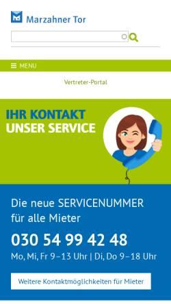 Vorschau der mobilen Webseite www.marzahner-tor.de, Wohnungsgenossenschaft Marzahner Tor eG