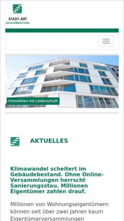 Vorschau der mobilen Webseite www.stadtart.de, Stadtart