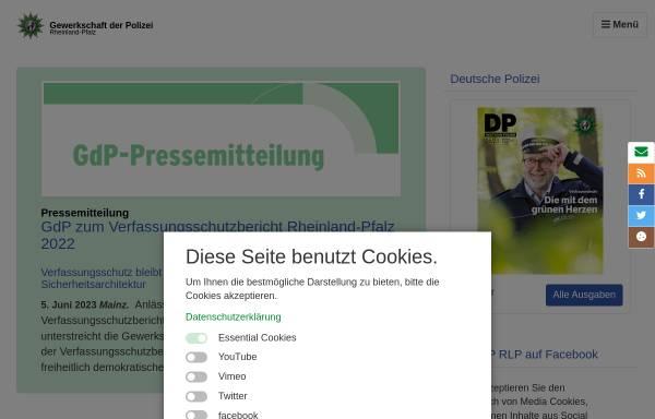 Vorschau von www.gdp.de, Gewerkschaft der Polizei [GdP] - Landesbezirk Rheinland-Pfalz