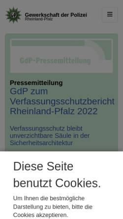 Vorschau der mobilen Webseite www.gdp.de, Gewerkschaft der Polizei [GdP] - Landesbezirk Rheinland-Pfalz
