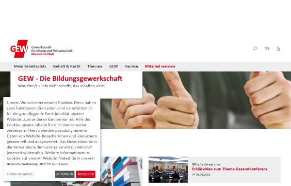 Vorschau von www.gew-rlp.de, Gewerkschaft Erziehung und Wissenschaft [GEW] - Landesverband Rheinland-Pfalz