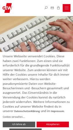 Vorschau der mobilen Webseite www.gew-rlp.de, Gewerkschaft Erziehung und Wissenschaft [GEW] - Landesverband Rheinland-Pfalz