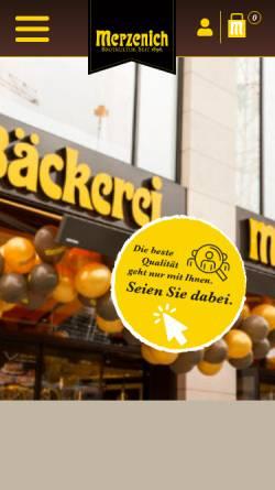 Vorschau der mobilen Webseite www.merzenich.net, Merzenich Bäckereien GmbH
