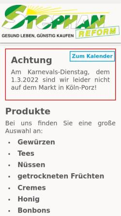 Vorschau der mobilen Webseite www.stephan-reform.de, Stephan-Reform