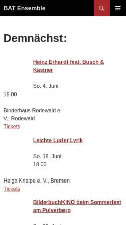 Vorschau der mobilen Webseite www.bat-ensemble.de, Bremer Amateur Theater Ensemble