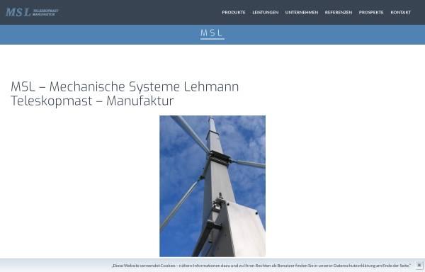 Vorschau von www.teleskopmast.de, MSL Mechanische Systeme Lehmann, Inh. Maik Lehmann