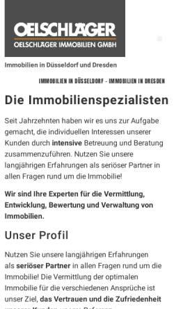 Vorschau der mobilen Webseite www.oelschlaeger.immo, Oelschlaeger Immobilien GmbH