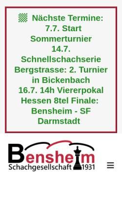 Vorschau der mobilen Webseite www.sg31bensheim.de, Schachgesellschaft 1931 Bensheim