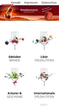 Vorschau der mobilen Webseite www.elztalbrennerei.de, Elztalbrennerei Georg Weis GmbH
