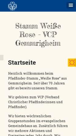 Vorschau der mobilen Webseite www.vcp-gemmrigheim.de, Verband Christlicher Pfadfinderinnen und Pfadfinder - Stamm