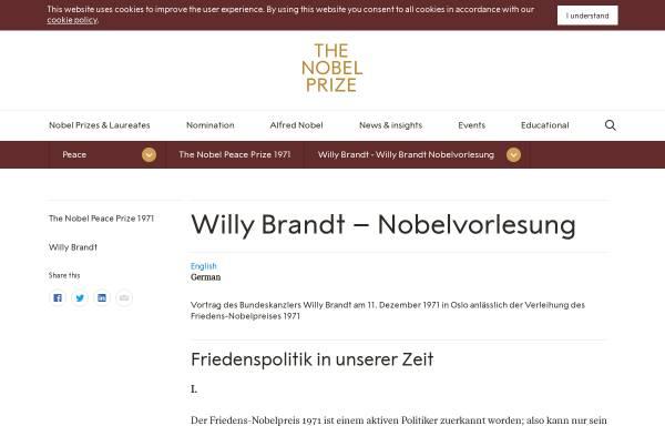 Vorschau von nobelprize.org, Willy Brandt - Nobel Lecture