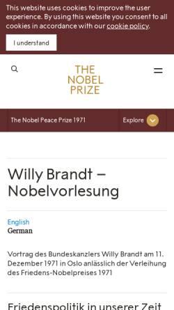 Vorschau der mobilen Webseite nobelprize.org, Willy Brandt - Nobel Lecture