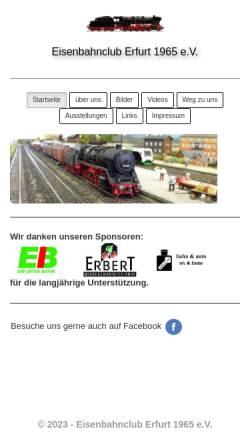 Vorschau der mobilen Webseite www.eisenbahnclub-erfurt.de, Eisenbahnclub Erfurt 1965 e.V.