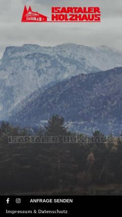 Vorschau der mobilen Webseite www.isartaler-holzhaus.de, Isartaler Holzhaus