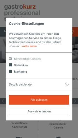 Vorschau der mobilen Webseite www.gastro-kurz.de, Kälte Kurz GmbH & Co. KG
