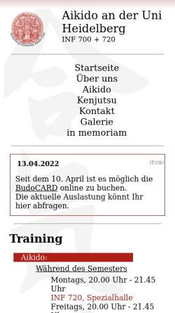 Vorschau der mobilen Webseite www.aikido-uni-hd.de, Aikido an der Uni Heidelberg