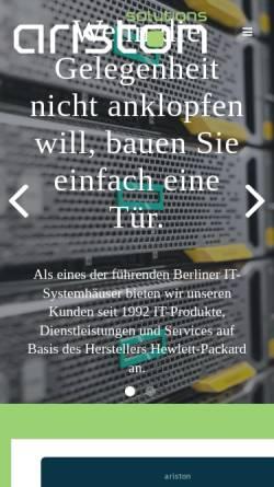 Vorschau der mobilen Webseite www.ariston.de, Ariston Vertriebs GmbH