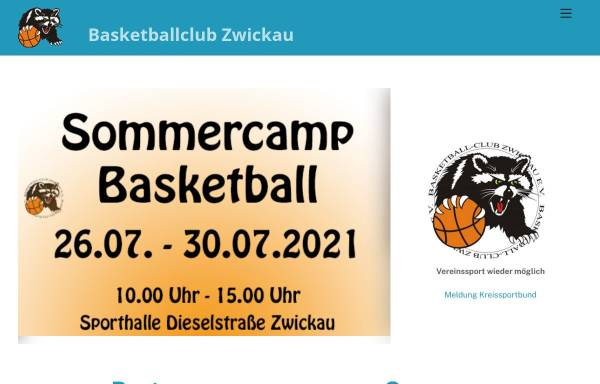 Vorschau von www.bc-zwickau.de, Basketball-Club Zwickau e.V.