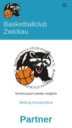 Vorschau der mobilen Webseite www.bc-zwickau.de, Basketball-Club Zwickau e.V.