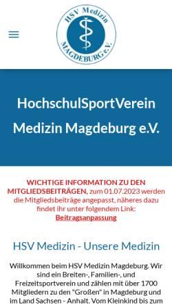Vorschau der mobilen Webseite www.hsvmedizin.de, HSV Medizin Magdeburg e.V.