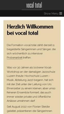 Vorschau der mobilen Webseite www.vocaltotal.ch, Jazzchor der Musikhochschule Luzern
