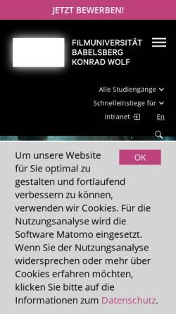 Vorschau der mobilen Webseite www.filmuniversitaet.de, Potsdam-Babelsberg