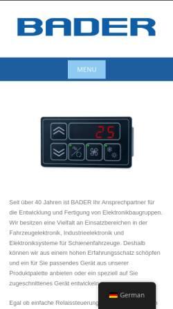 Vorschau der mobilen Webseite www.badergmbh.de, Bader GmbH