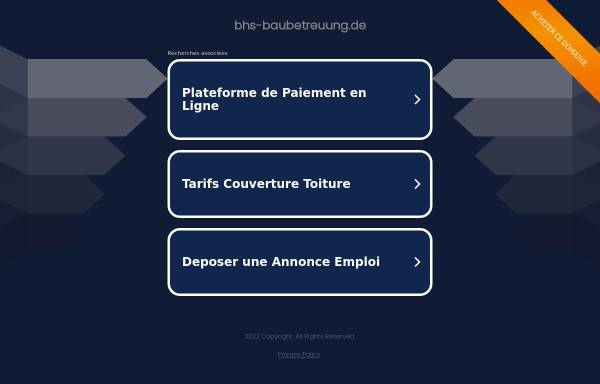 Vorschau von www.bhs-baubetreuung.de, BHS-Technische Baubetreuung und Bauträger GmbH