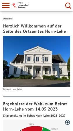 Vorschau der mobilen Webseite www.ortsamt-horn-lehe.bremen.de, Ortsamt Horn-Lehe